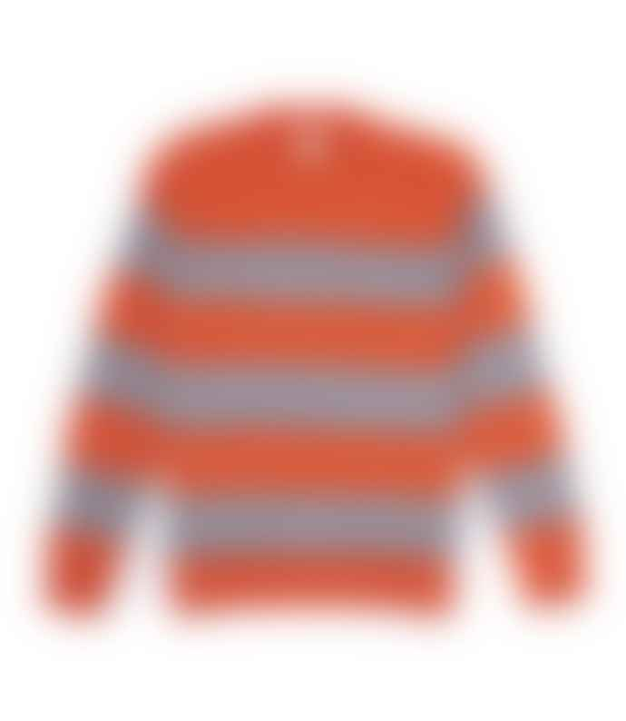 Country of Origin Orange & Grey Fleece Stripe Crew Neck Knit Sweater