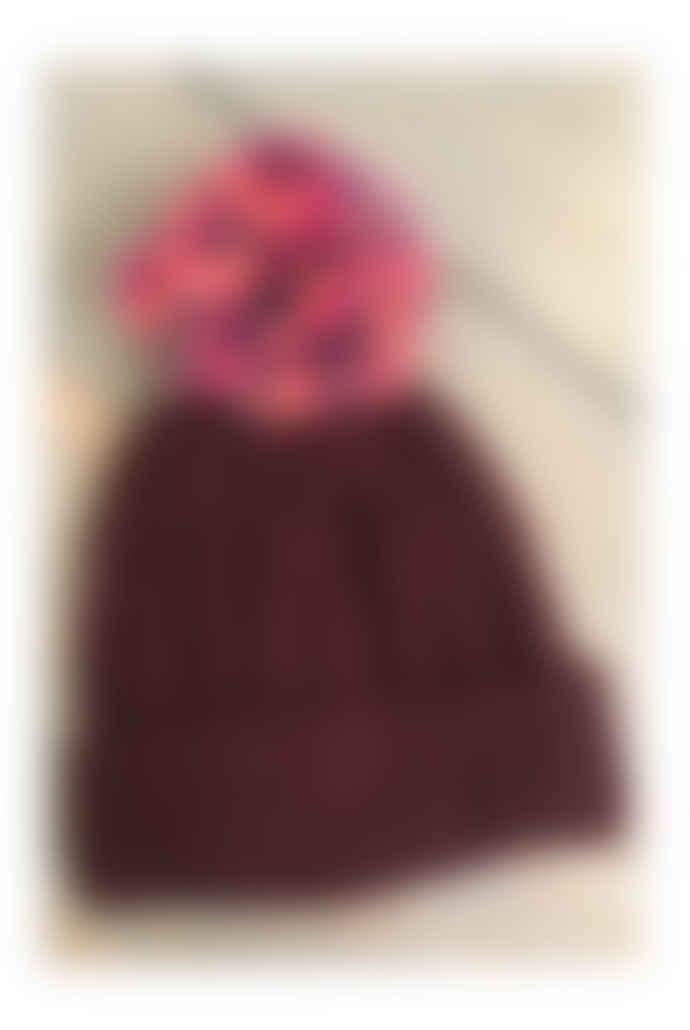 Maroon Pom Pom Hat