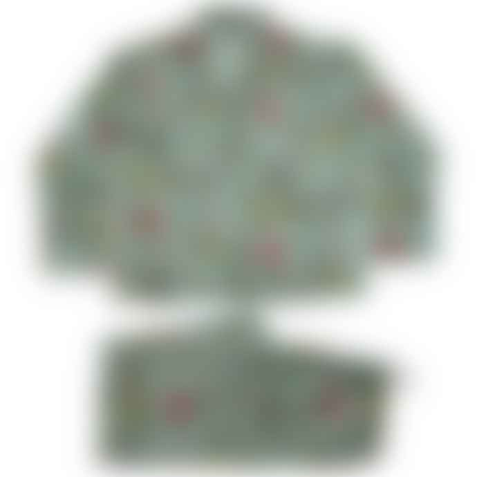 Powell Craft Ladies Mint Green Floral Print Cotton Pyjamas