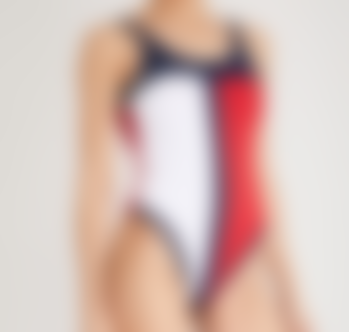 Tommy Hilfiger Multi Iconic Flag Scoop Low Back One Piece