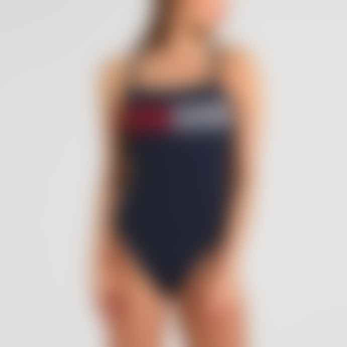 Tommy Hilfiger Navy Cross Back Flag Lines One Piece