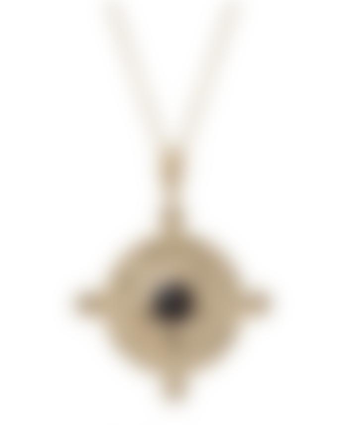 Kiki Minchin Black Crystal Amalfi Coin Gold Necklace