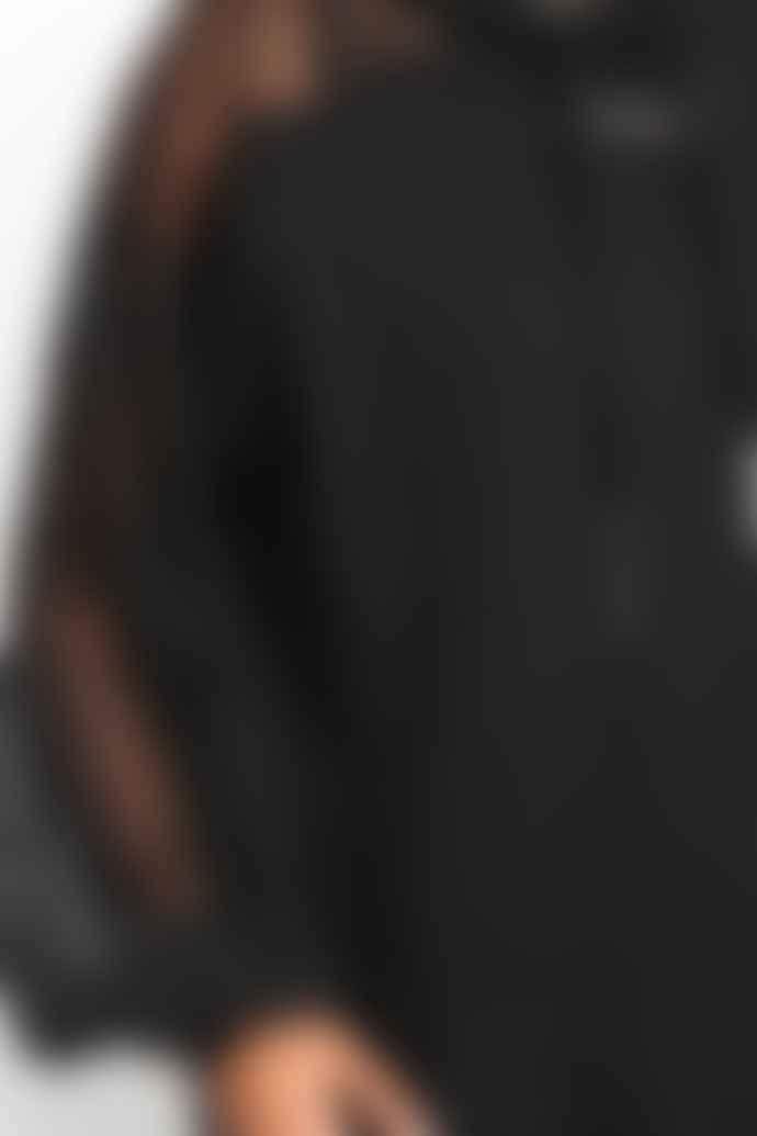 Ivy Park Black Distressed Mesh Sleeve Hoodie Dress