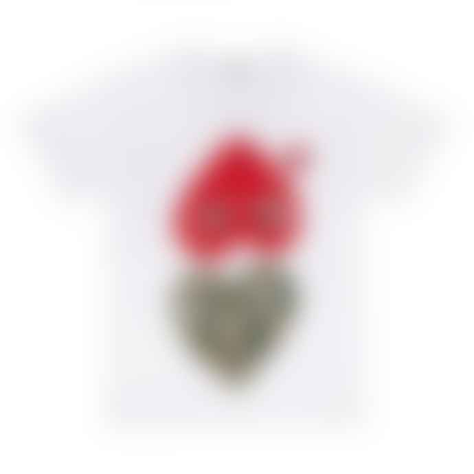 Comme Des Garcons Play White PLAY Mixed Heart Print T-Shirt
