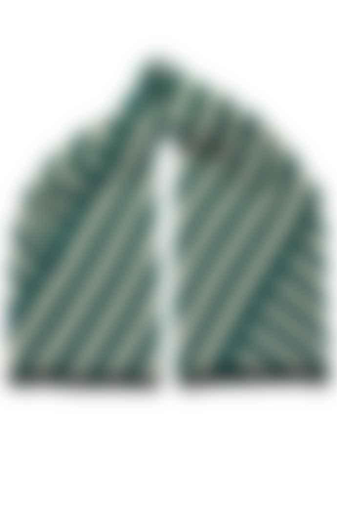 Miss Pompom Teal Striped Scarf