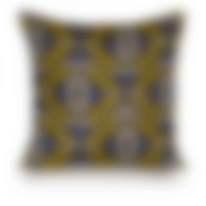 Rouge du Rhin Linen Blue And Yellow Square Cushion 47x47