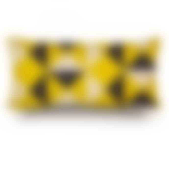 Rouge du Rhin Linen White And Yellow Rectangle Cushion 23x47