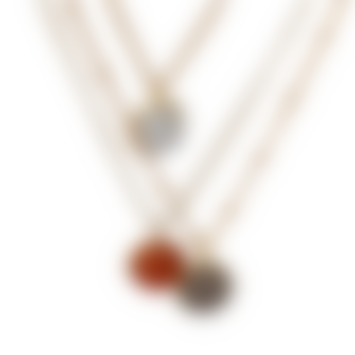 Mirabelle Jewellery  Magic Ball Pendant Grey Chalcedony On Val Gold Plated Chain