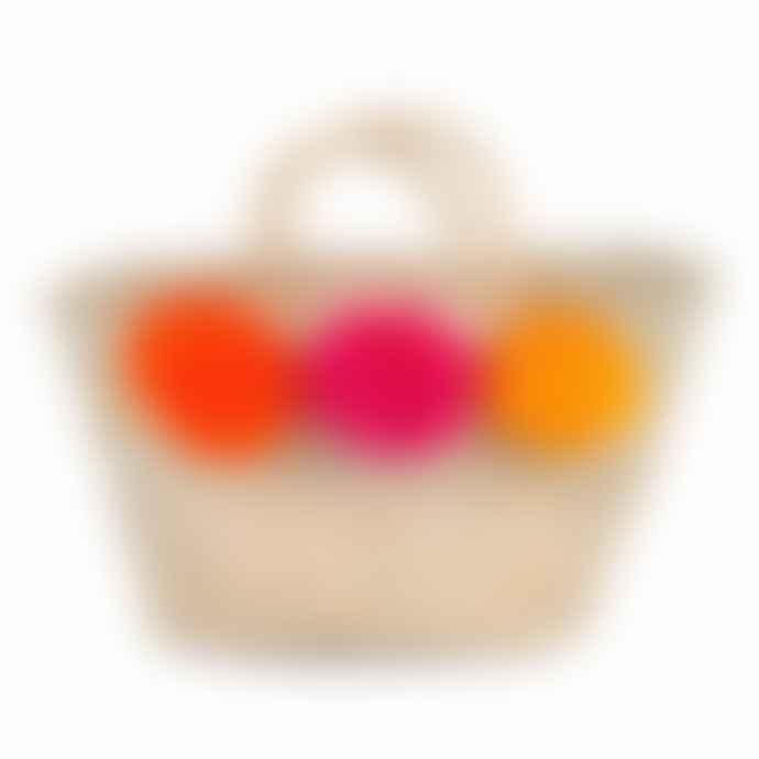 Bohemia Orange Pink Yellow Mini Pom Pom Basket