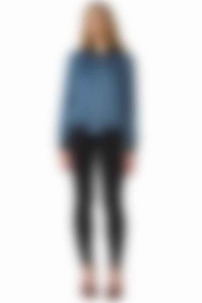 POP Copenhagen  Blue Velveteen Silk Bomber Jacket