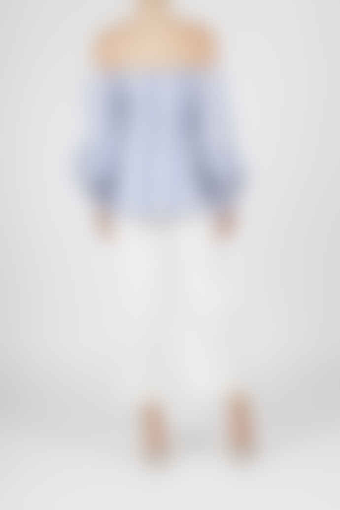 Jovonna London Blue Stripe Bergamot Off Shoulder Top