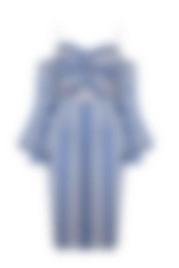Jovonna London Blue Stripe Biaggio Cut Out Midi Dress