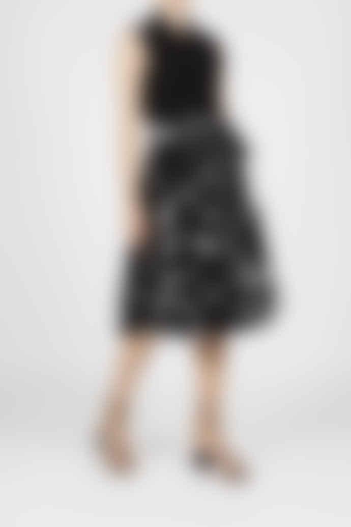 Jovonna London Black Delpha Origami Print Midi Dress