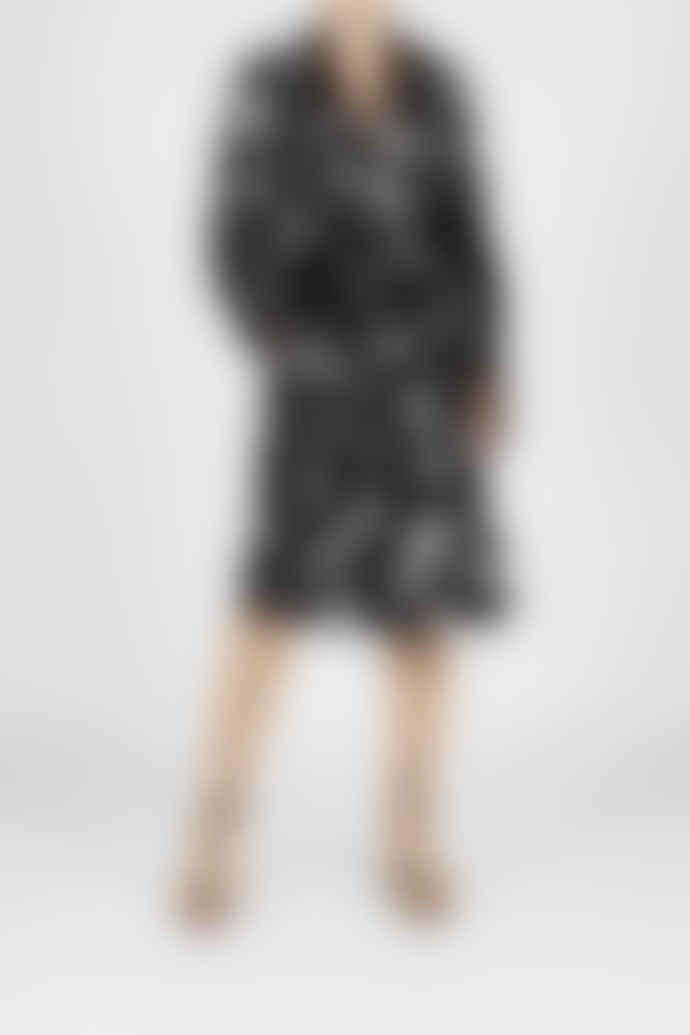 Jovonna London Black Rhode Origami Print Trench Dress