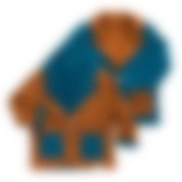 bonjour maurice Kids Organic Cotton & Reversible Peacock Blue And Camel Blazer