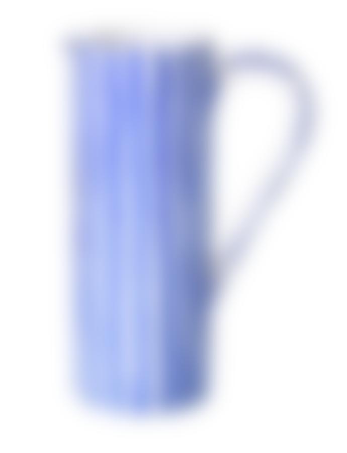 Marram Trading  Blue and White Stripe Tall Jug