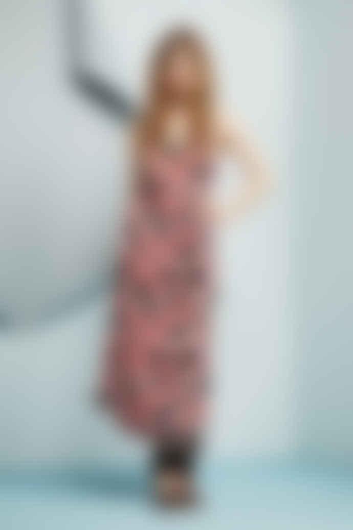 Fabienne Chapot Black Sahara Pink Desert Flower Sun Rise Midi Dress