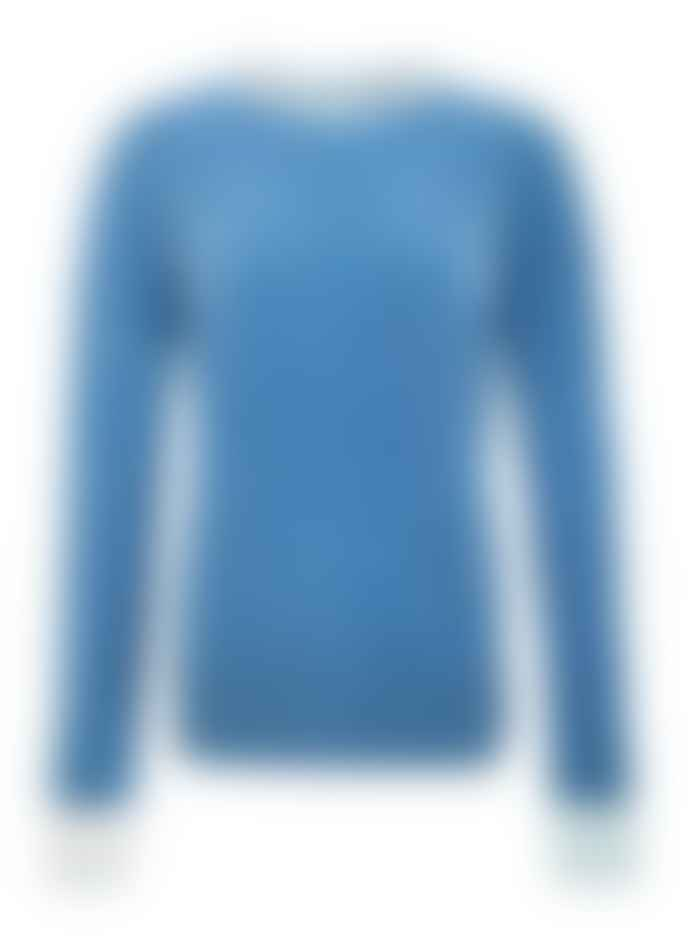 Duffy NY Denim Blue Cashmere Crew Neck Sweater