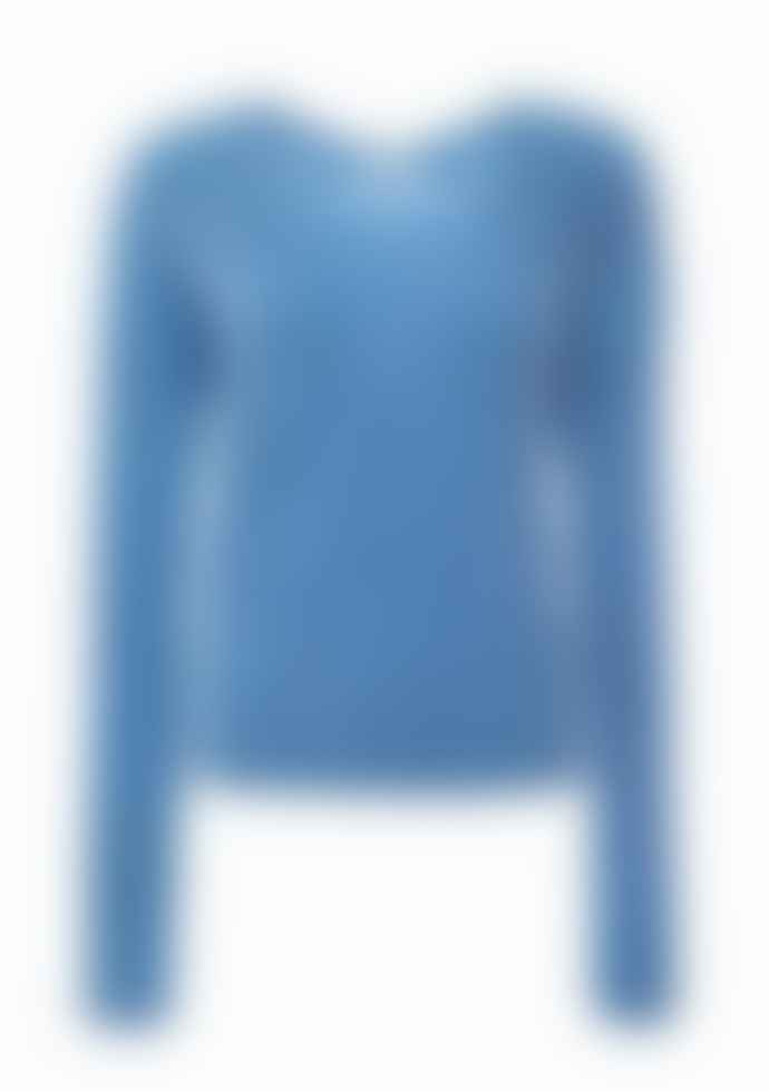 Duffy NY Denim Blue Drop Shoulder V Neck Jumper