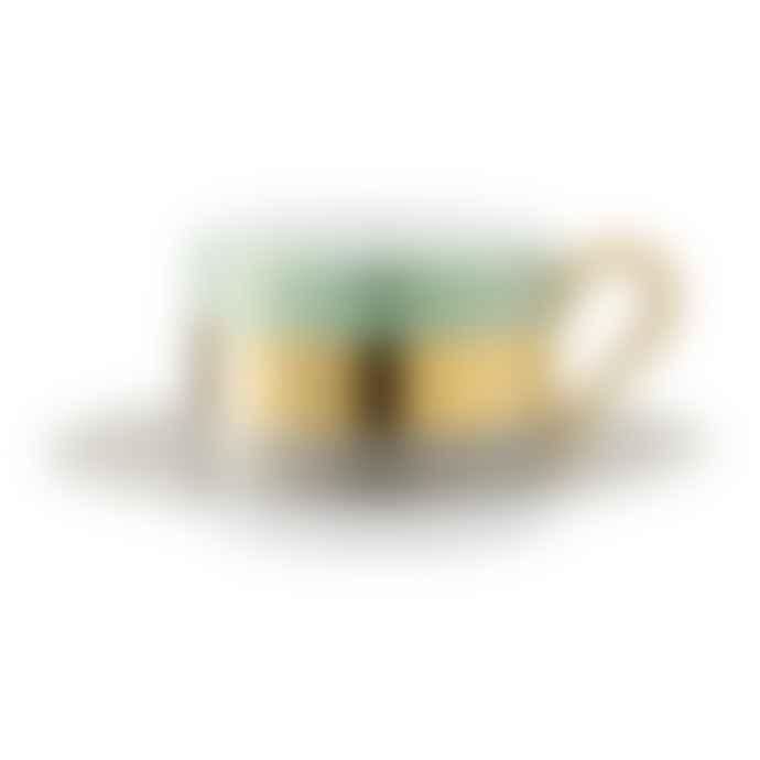 LSA International Set of 2 Melon Bangle Porcelain Teacup & Saucer