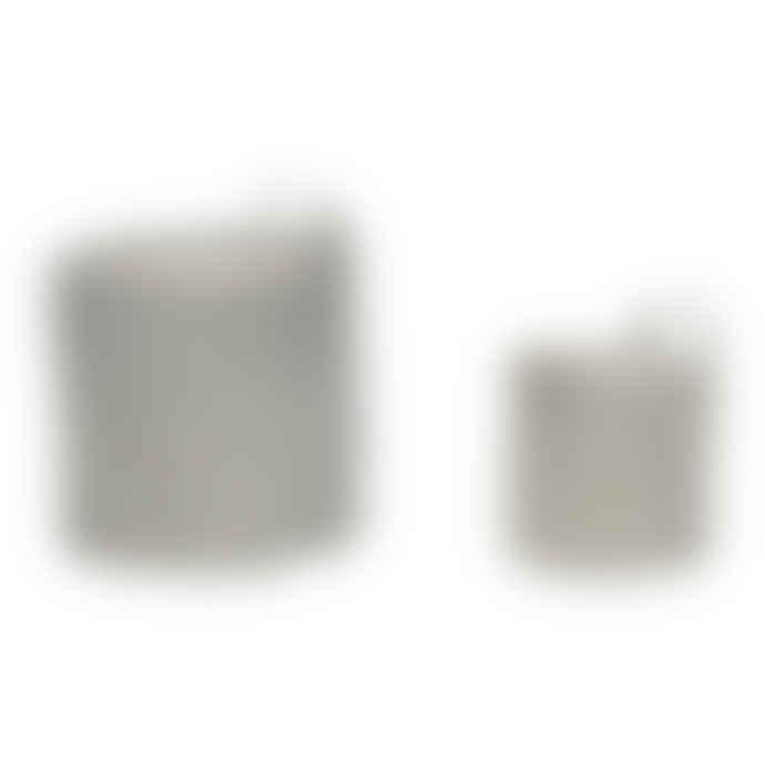 Hubsch Medium Grey Waxed Inner Cotton Mix Basket With A Handle