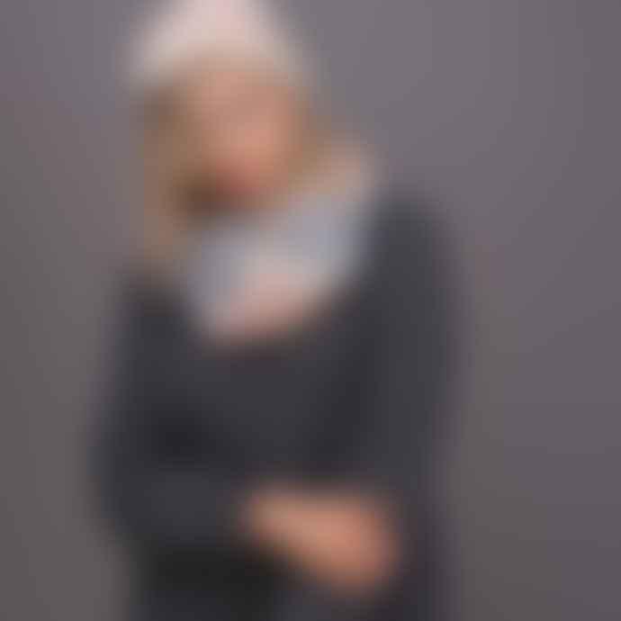 F & J Collection Grey Cream Pink Naja Hat & Snood Set