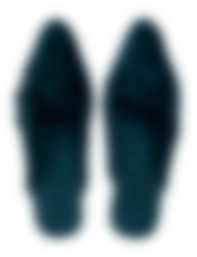 Wallace Cotton Peacock Blue Velvet Velluto Slipper