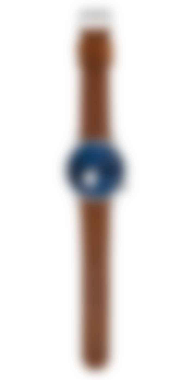 Komono Blue Cognac Leather Winston Subs Watch