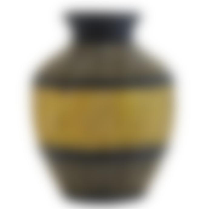 Madam Stoltz Black and Mustard Natural Seagrass Vase