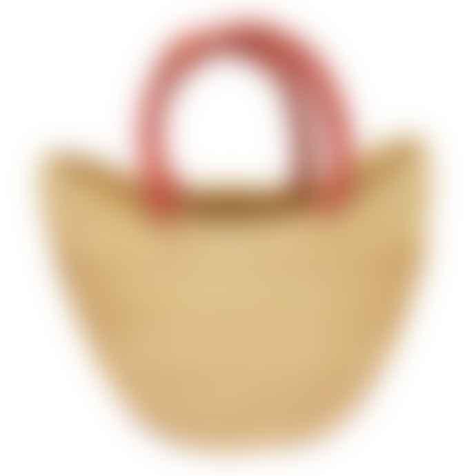 Artisans & Adventurers Natural Ghanaian Medium With Leather Handles Bolga Shopping Basket