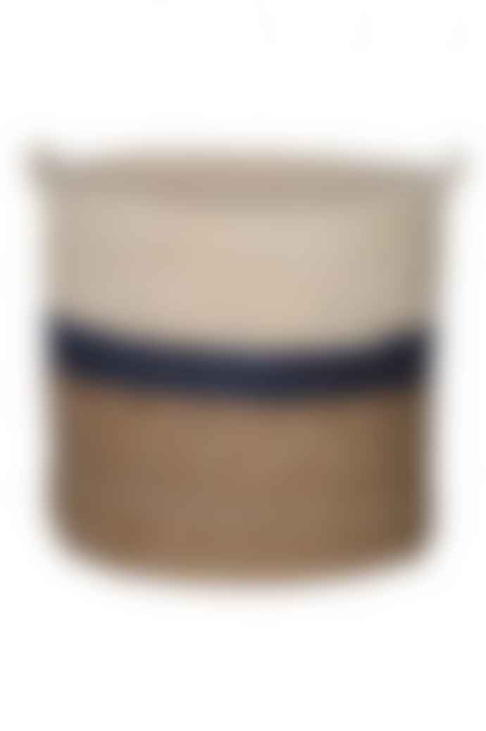 The Sue Parkinson Home Collection Navy Stripe Maize And Straw Basket