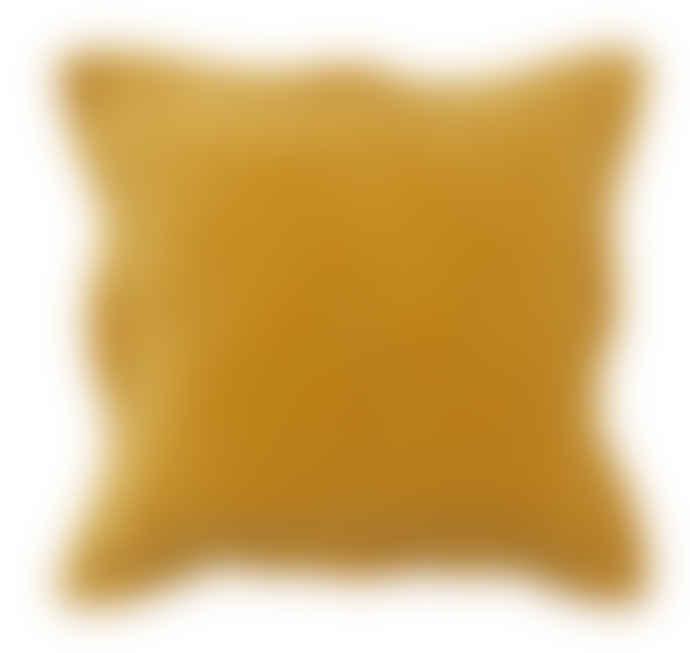 Wallace Cotton Mustard Plush Velvet Large Square Pillowcase