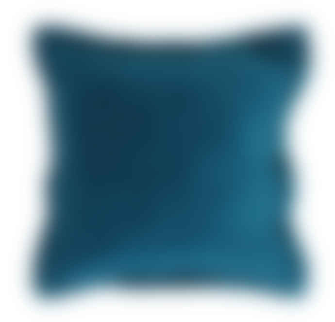 Wallace Cotton Blue Plush Velvet Large Square Pillowcase