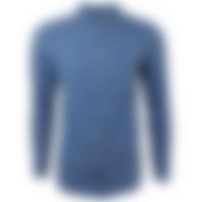 Farah Long Sleeved Indigo Brewer  Slim Fit 100% Cotton Shirt