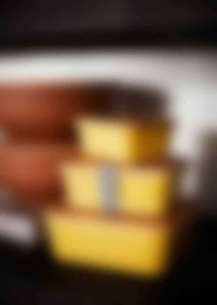 Madam Stoltz Yellow Bamboo Container Set of 3