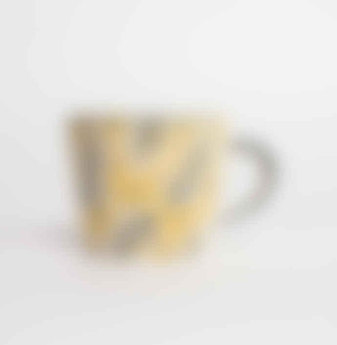 Gisela Graham Yellow Ceramic Fern Mug Set of Two