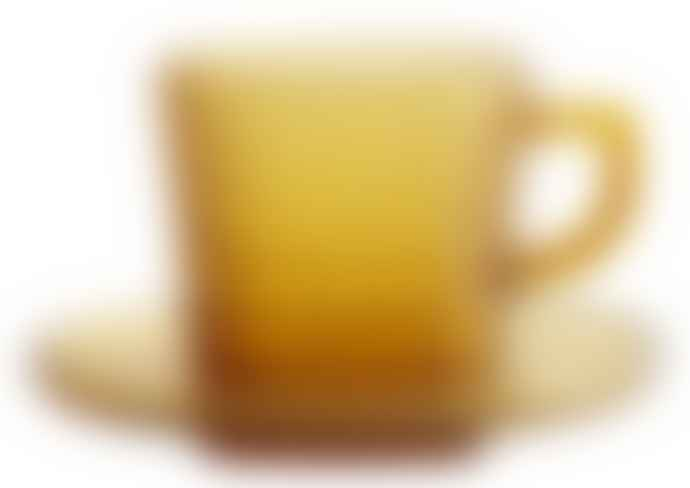 Nordal Amber Glass Cup And Saucer