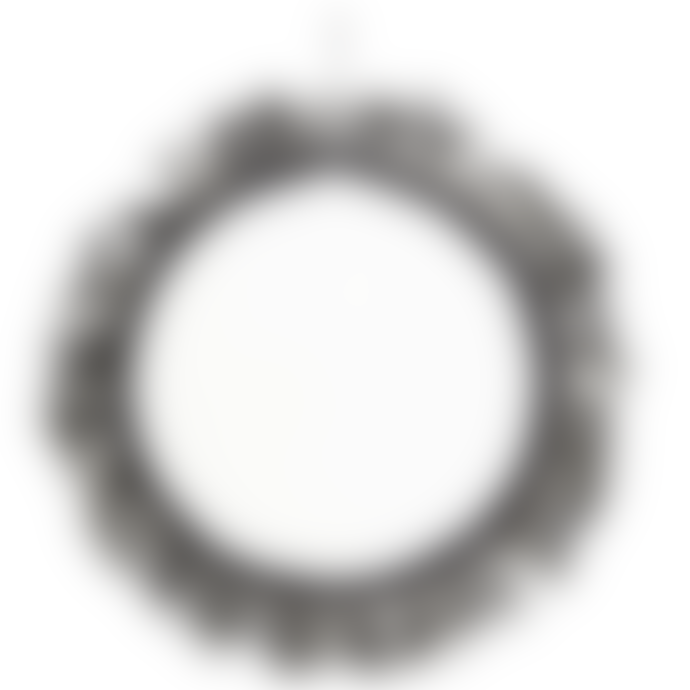 Madam Stoltz Black Fringe Hanging Circle Mirror