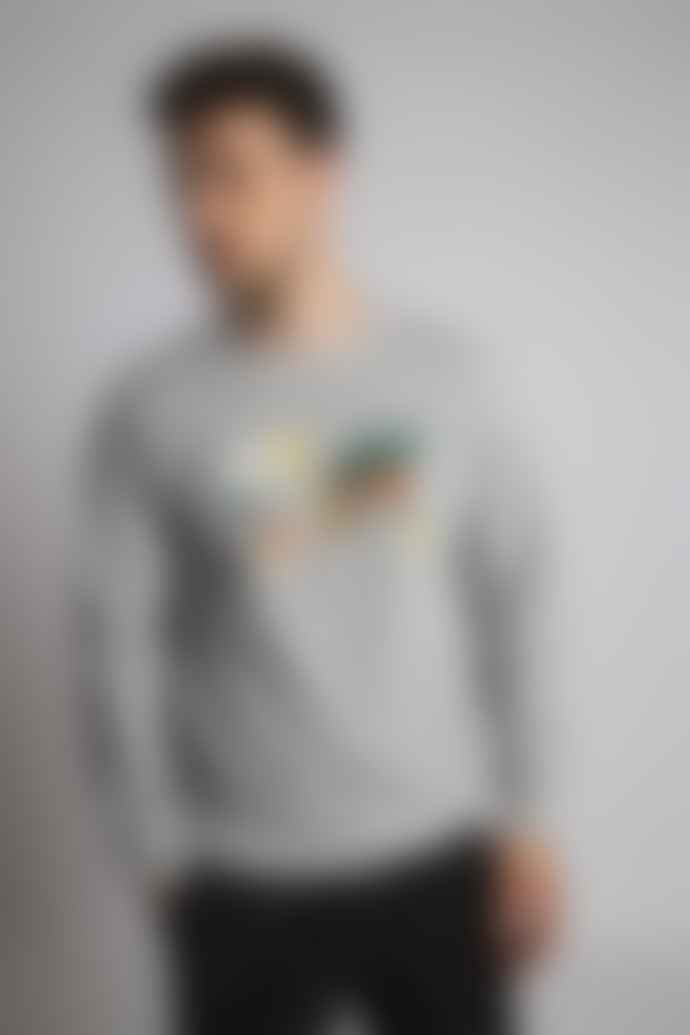 Hymn 'ATLAS' World Map Embroidered Sweatshirt - Grey Marl