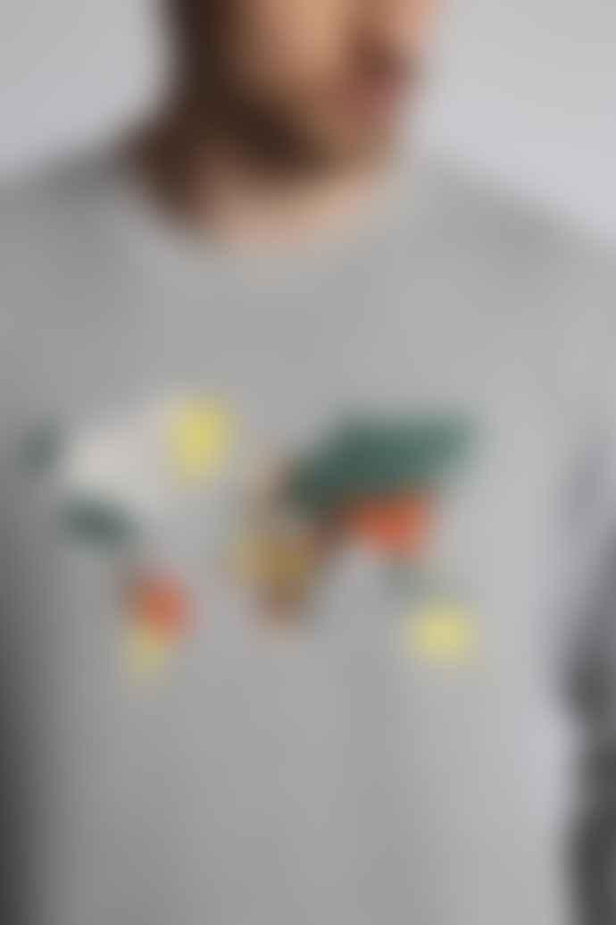 Hymn London 'ATLAS' World Map Embroidered Sweatshirt - Grey Marl