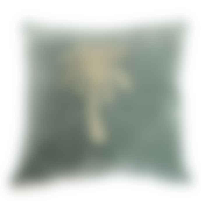 a la Green Palm Tree Velvet Cushion