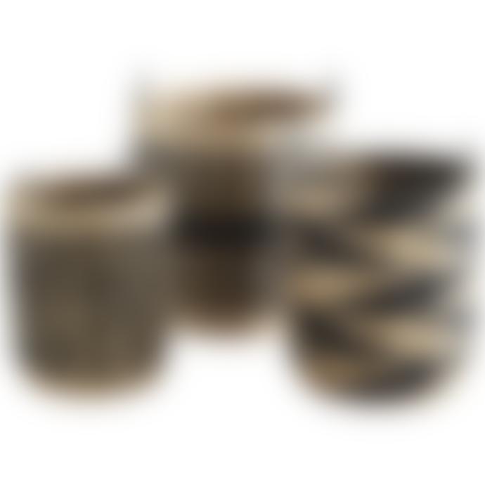 Madam Stoltz Large Black Pattern Wicker Baskets