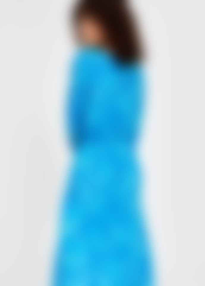 Essentiel Antwerp Blue Selim Silk  Printed Mid Shirt Dress