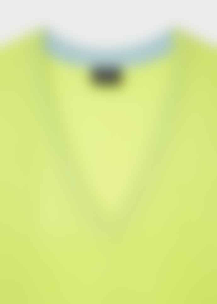 PS by Paul Smith Lime Green Contrast V-Neck Wool Sweater