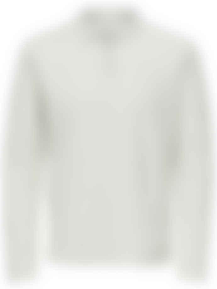 Selected Homme Egret White Josh Long Sleeved Polo