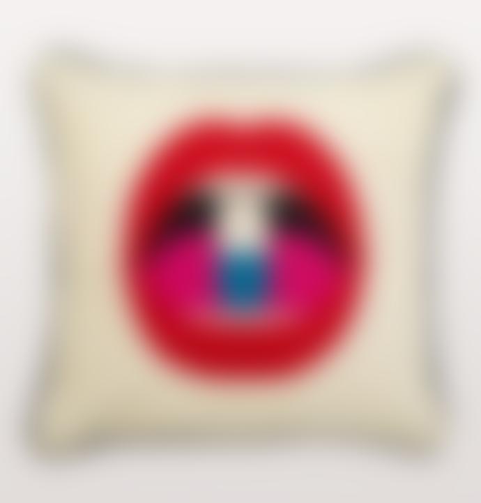 Jonathan Adler Full Dose Lips Needlepoint Cushion