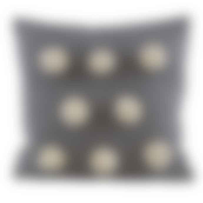 Raine And Humble Large Grey Pom Pom Cushion