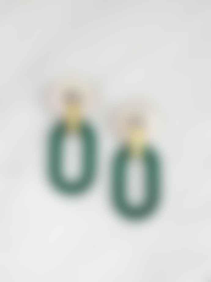 Wolf & Moon Lora II Earrings In Dark Green