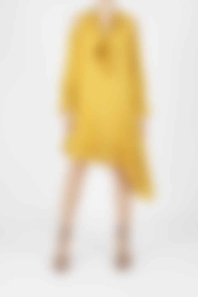 Jovonna London Yellow Amulet Asymmetrical Polka Dotted Dress