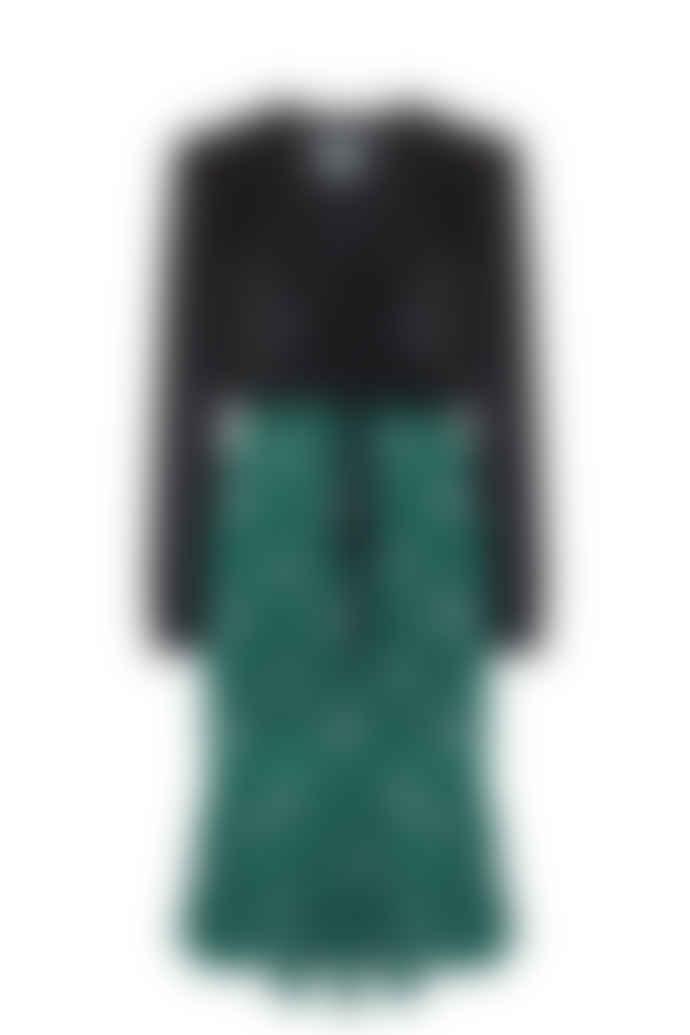 Jovonna London Black Green Bay Floral Polka Printed Dress